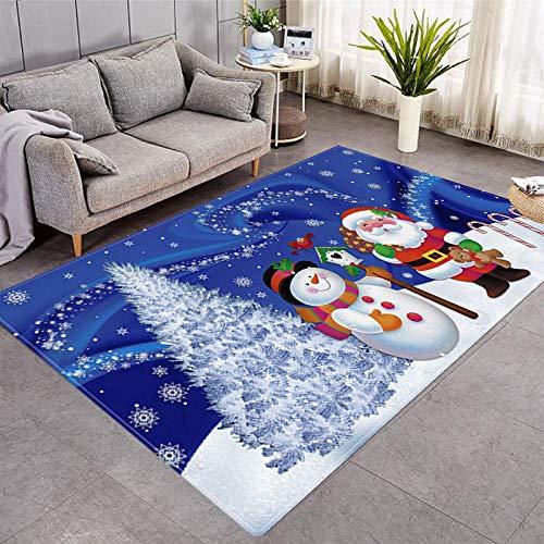 DRTWE Alfombra de terciopelo suave con estampado 3D de Papá Noel, para sala de estar, dormitorio, antideslizante, cálida, para yoga, meditación, niños, 122 x 183 cm