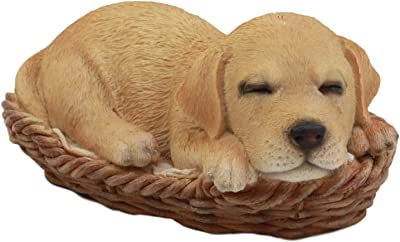 "Ebros Lifelike Adorable Labrador Retriever Dog Sleeping in Wicker Basket Statue 6.25"" Long Realistic Pet Pal Dog Breed Collectible Resin Decor Figurine"