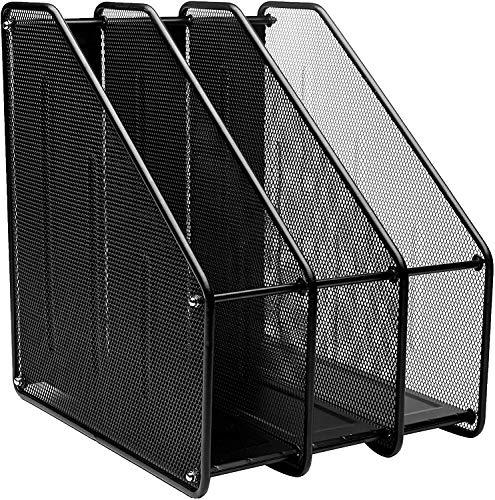 Compartimentos Revistero archivador de Malla metálica Revistero archivador triple de malla metálica/Archivadores de revistas/Estante para escritorio (3Archivos, Negro)