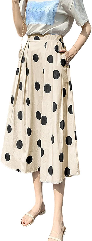 Womens Polka Dot A line Elastic Waist Midi Skirt High Waist Vintage Casual Swing Half Dress Disney Look