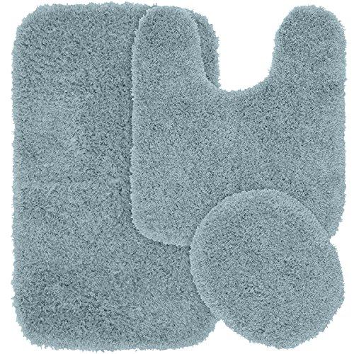 Garland Rug 3-Piece Jazz Shaggy Washable Nylon Bathroom Rug Set, Basin Blue