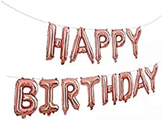 Happy Birthday Balloons Banner Decorations Party Supplies 16-inch - 40 Cm Per Pcs Rose Gold Foil