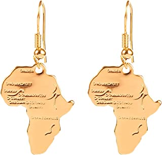24k Gold Plated Brass Africa Map Dangle Earring
