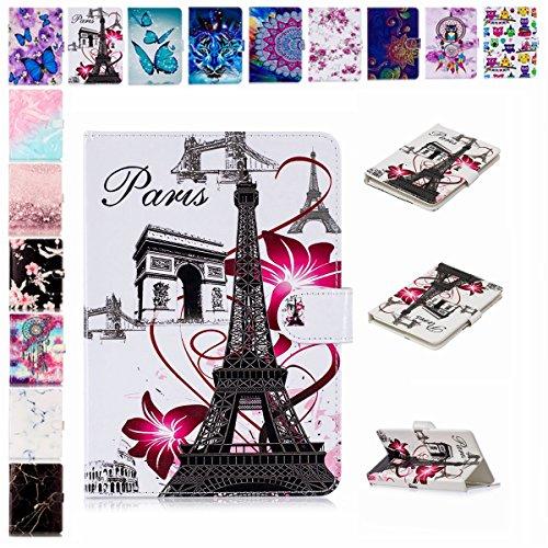 E-Mandala Universal 7 Zoll Hülle Etui Flip Case Leder Wallet Cover Tablet PC Tasche mit Kartenfach Klapphülle Ledertasche Lederhülle - Eiffel Turm Paris