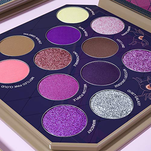 LUXAZA Purple Eyeshadow Palette 12 Colors Matte & Shimmer & Glitter with Eyeliner & Brushes,Coordinated & High Pigmented Professional Makeup pallet - Purple
