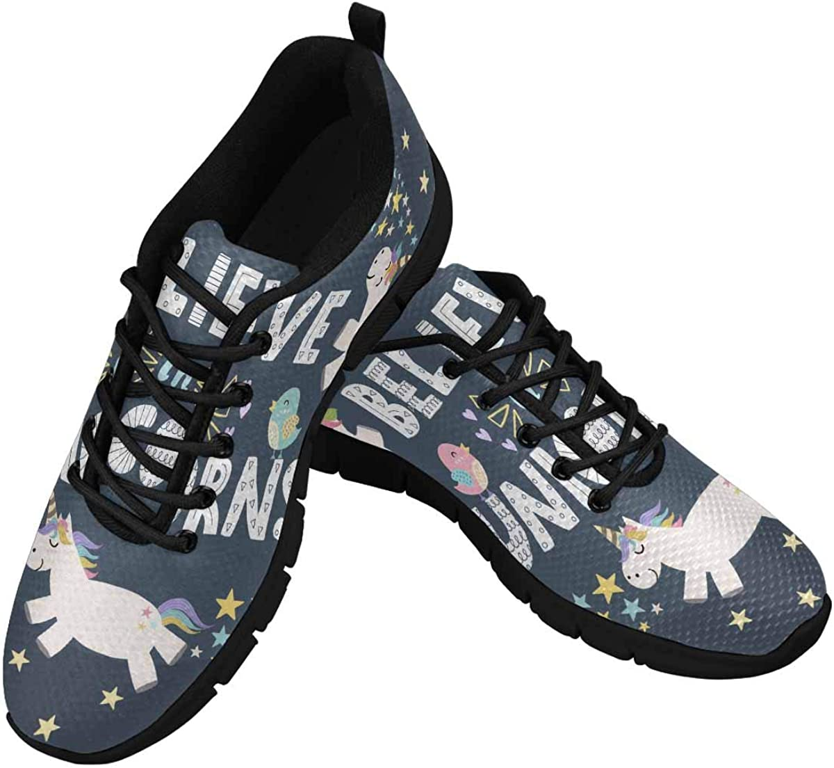 InterestPrint Believe in Unicorns Cute Women's Running Shoes Mesh Breathable Sports Casual Shoes