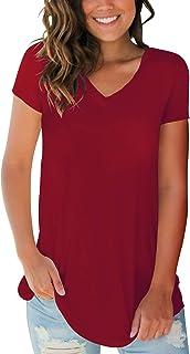 SMALOVY Women's Tops Short Sleeve V Neck T Shirts Summer Basic Tees