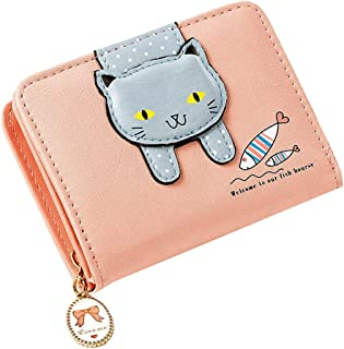 MALA Leather Cat Purse Pink Ladies Bi-Fold Coin Card Holder Large Wallet Purses