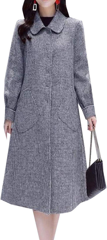 Desolateness Women's Wool Parkas Single Breasted Blend Fashion Maxi Lapel Outwear