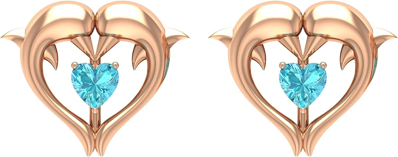 1/4 CT Swiss Blue Topaz Dolphin Heart Stud Earrings (AAA Quality),14K White Gold,Swiss Blue Topaz