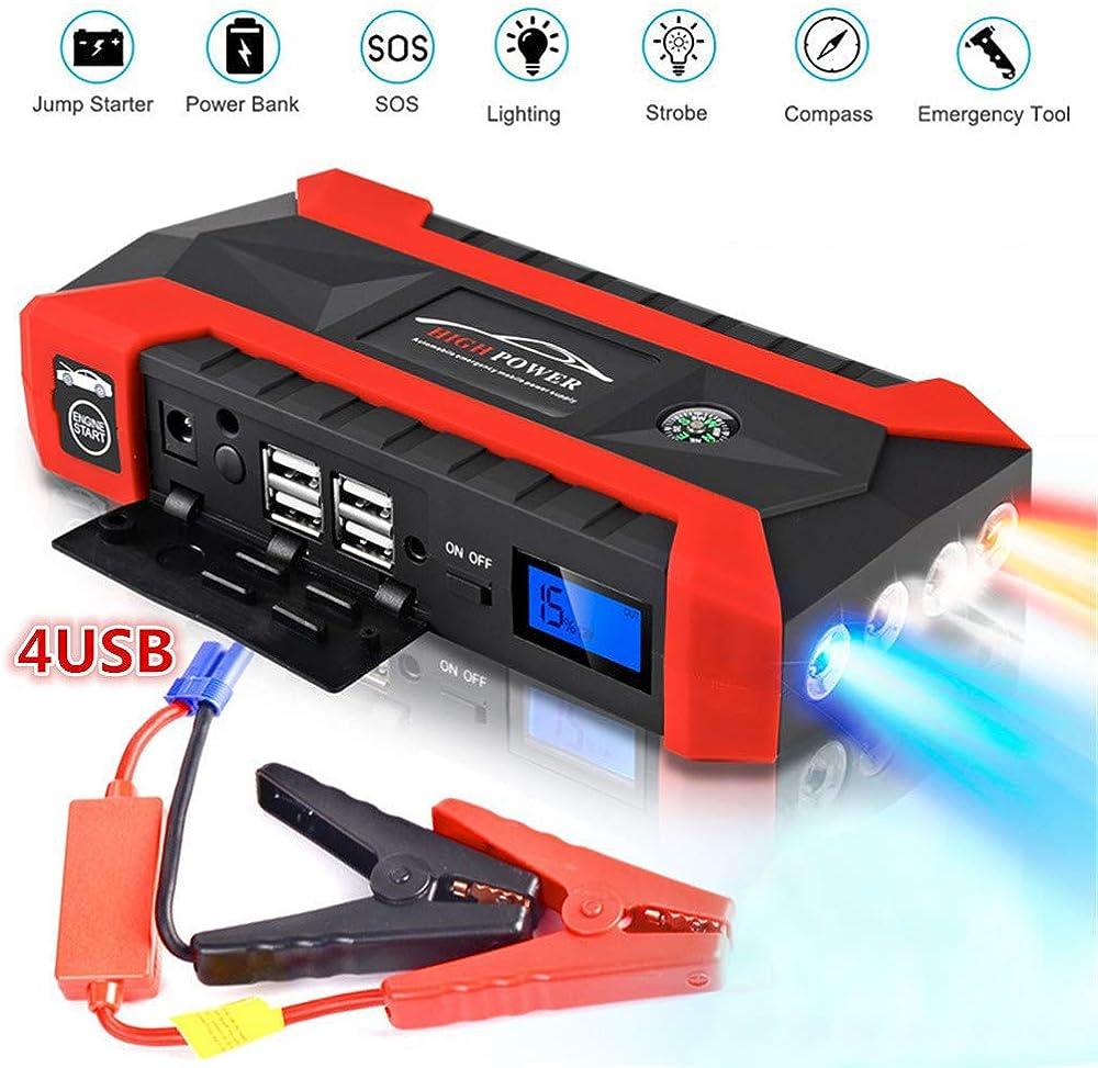 Sunwan,avviatore emergenza per auto,batteria portatile da 12 v, per moto, barche, camper, con 4 porte usb, tor mtx 7.0