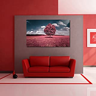999Store canvas framed Pink Tree Printed Home Decor like Modern Wall Art Painting - Large Size ( 91 Cms x 61 Cms)