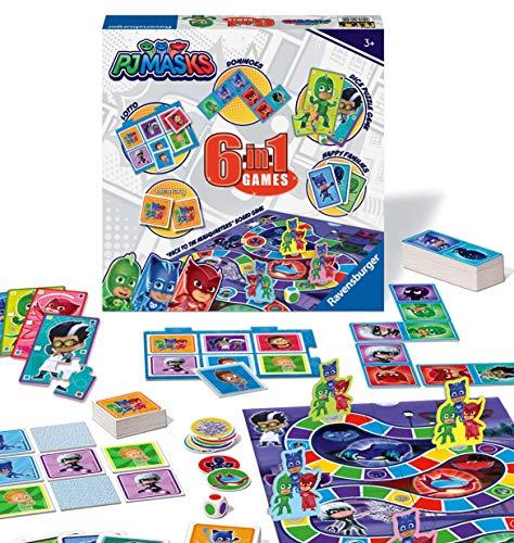 Ravensburger PJ Masks - Compendio de Juegos 6 en 1 para niños y familias de 3 años en adelante, Bingo, dominó, Serpientes y escaleras, Damas, Cartas de Juego y Juego de Memoria