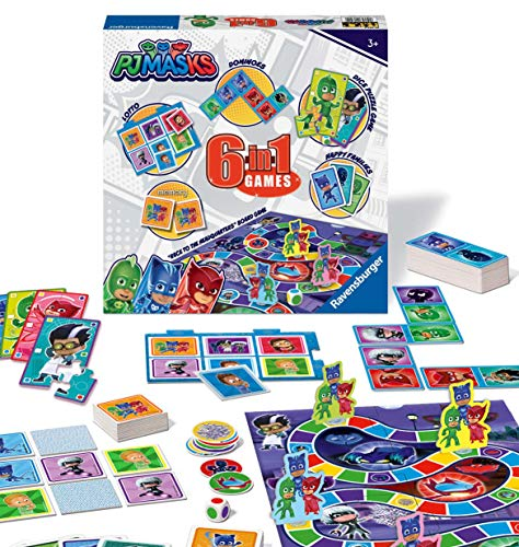 Ravensburger 21341 PJ Masks - Juego 6 en 1 para niños y familias de 3 años y más, Incluye 6 Juegos clásicos: Bingo, Memoria, dominóes, Serpientes y escaleras, Damas y Cartas de Juego