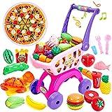 Buyger 2 en 1 Cortar Alimentos Juguetes Supermercado Carrito Compra con Hamburguesa Frutas Verduras Juguete Educativos para Niños Niñas 3 4 5 Años