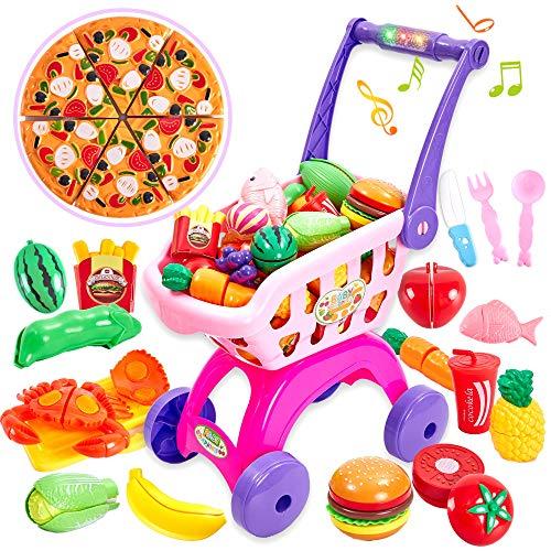Buyger 31 Stück Kinder Einkaufswagen Küchenspielzeug Schneiden Obst Gemüse Lebensmittel Spielzeug mit Lichtern und Musik für Kinder