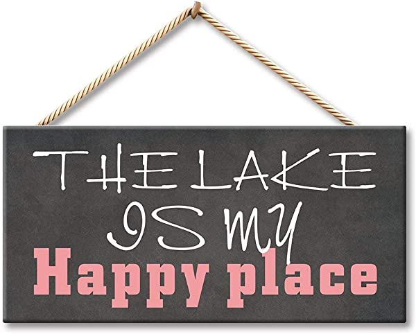 NWXO Wood Sign 5x10 Inches The Lake Is My Happy Place 5 X 10 Inch Wood Plank Design Hanging Sign