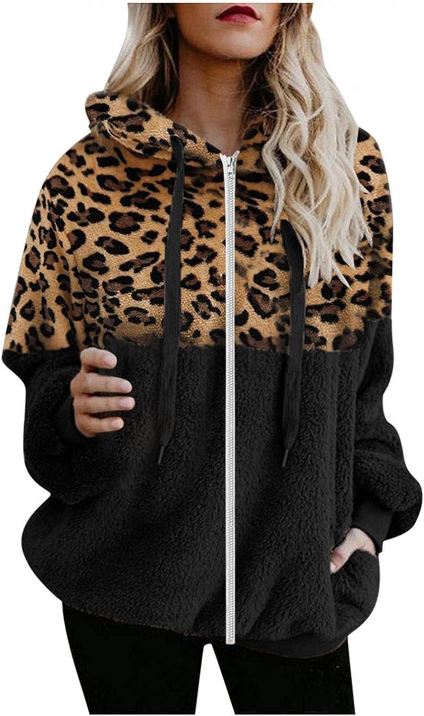 Hoodies for Women Oversized Zip Up Hoodie Fleece Jacket Color Block Leopard Sweatshirt Pullover Fluffy Coat Outwear