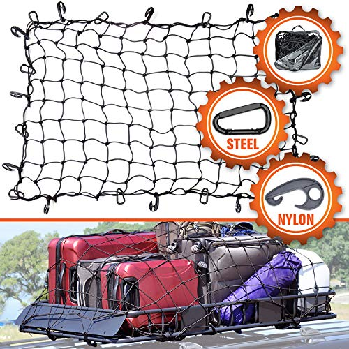 3#039x4#039 Super Duty Cargo Net Bungee Net Stretches to 6#039x8#039 for Oversized Rooftop Cargo Rack | 12 TangleFree Steel Carabiners  12 Hooks | 35quotx35quot Grid Holds Small amp Large Loads Tighter