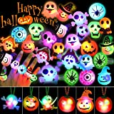 Outee 36 Pcs LED Ring Christmas Gift Party Favors Halloween Decorations LED Flash Rings for Kids LED Light up Halloween Toys Glow Rings Necklaces Set Glow in the Dark
