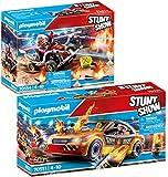 Playmobil® Stuntshow Lot de 2 Articles 70551 70554 Voiture Crash Test + Véhicule et Pompier