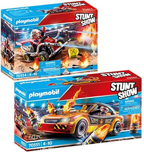 PLAYMOBIL Stuntshow Juego de 2 Piezas 70551 70554 Crashcar + Kart Bombero