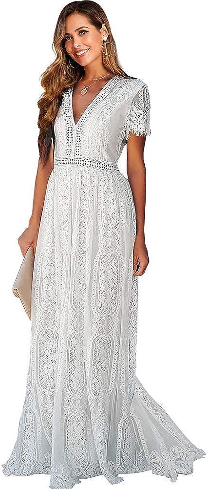 SMDPPWDBB Women's V Neck Floral Lace Wedding Dress Short Sleeve Bridesmaid Evening Party Maxi Dress