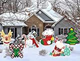 Christmas Decorations Outdoor Yard Sign 6 Pack, Large Lawn Stakes for Garden Patio Party Decor New year Winter Wonderland Corrugate-Christmas Tree, Santa Claus, Reindeer, Crutches, Snowman, Stockings…
