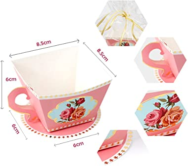AerWo 50pcs Teacups Candy Boxes, Tea Party Birthday and Baby Shower Favor Box, Cute Tea Candy Boxes for Tea Time Party and Wedding Decoration (Pink)