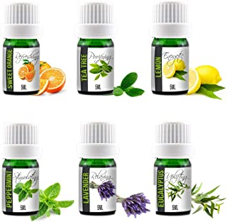 Aroma2Go Essential Oils Set, 100% Pure Undiluted, Therapeutic Grade, Plant Based in 5ML Peppermint, Lavender, Sweet Orange, Lemon, Tea Tree & Eucalyptus (Six Pack Essentials)