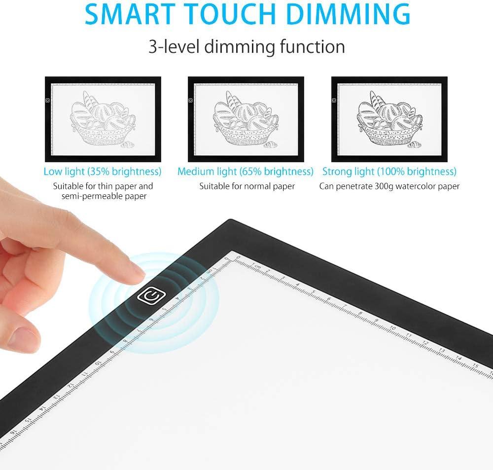 Tablette Lumineuse A4 avec 3 Niveaux Luminosit/é R/églable,Ultre-Mince A4 Lumineuse Dessin LED avec Cable USB Pour Dessiner Croquis Esquisse Architecture Calligraphie A4-DC