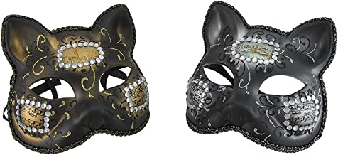Pair of Venetian Style Jeweled Gatto Musica Carnivale Cat Costume Masks