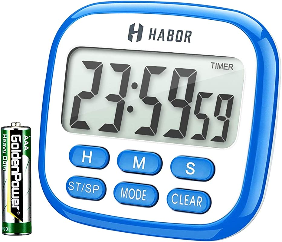 Habor Kitchen Timer 24 Hours Digital Timer Multifunctional With Clock For Cooking Loud Alarm Strong Magnet Count Up Count Down For Kitchen Baking Sports Games Office Study Battery Included