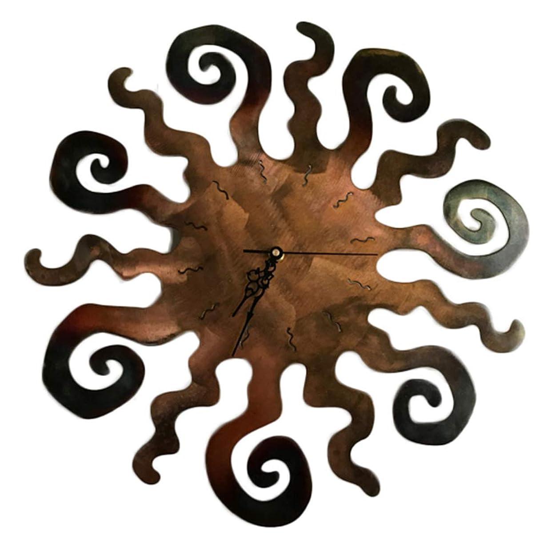 バンカードラムマーベル太陽の壁時計、錆のテクスチャ/食用、アクリル環境材料時計/錆色/家の装飾の太陽の壁時計