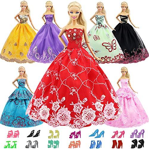 ZITA ELEMENT 15 Stück Handgefertigte Puppensachen für 11,5 inch Girl doll Puppe Ballkleid Hochzeitskleid Kleidung Abendkleid Kleider 5er Partykleider mit 10er Schuhe Mädchen Spielzeug
