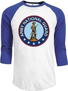Men's Seal Of The United States Army National Guard 3/4 Sleeve Raglan Baseball T Shirt
