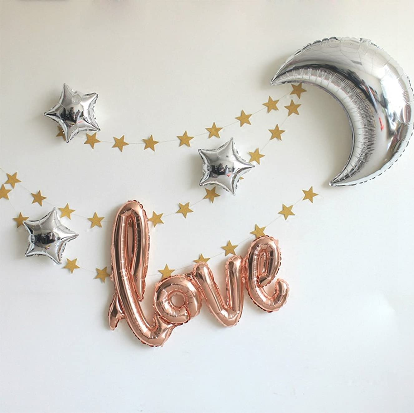 """42 Inch """"Love"""" and 36 Inch Moon Large Size Foil Balloons Air-Filled/Helium Balloon for Party Show Performance Wedding Baby Shower Window Dressing Birthday Anniversary Decoration (Champagne Gold Set)"""