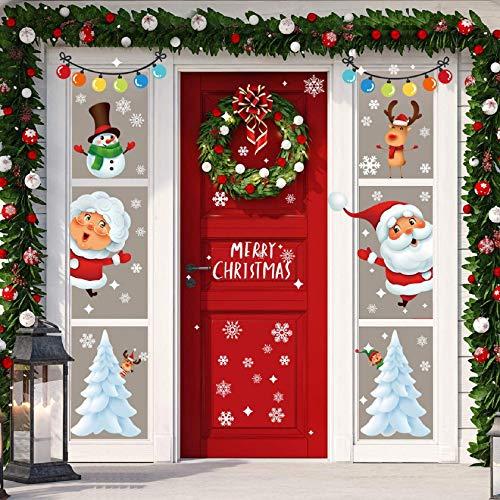Tuopuda Natale Vetrofanie Addobbi Natale Adesivi Murali Rimovibile Stickers Finestra Rimovibile Addobbi Fai da Te Natale...