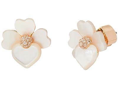 Kate Spade New York Precious Pansy Studs Earrings (Cream Multi/Rose Gold) Earring