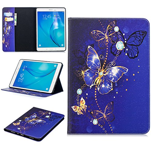 LMFULM Case for Samsung Galaxy Tab A/SM-T550 / T555 (9.7 Inch) PU Leather Case Dreamy Blue Butterfly Pattern Stent Function Holster Flip Cover for Galaxy Tab A 9.7 Tablet PC