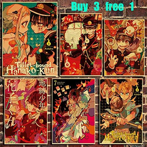 HUNSHA Anime Retro Kraft Paper Poster Bar Office Cafe Home Art Pegatinas de pared