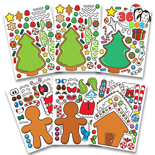 JOYIN 36 PCS Christmas Make-a-face Sticker Sheets Make Your Own Christmas Gingerbread Sticker Series and Trees Sticker Sheets Kids Party Favor Supplies Craft