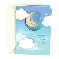 Hallmark Vida Spanish Congratulations Greeting Card for New Baby Boy (Boy on Moon with Clouds)