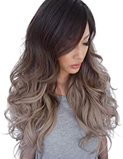 MagiDeal 60cm Women Synthetic Long Curly Hair Full Wigs, Ombre Brown Blend Oblique Bangs Style Weave Hairpieces, Heat Safe for Daily Party Use