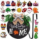 jollylife Welcome Sign Front Door Decorations + Wreath Hanger + 21PCS Interchangable Seasonal Plaques - Home Porch Decor Indoor Outdoor Hanging Ornaments Gifts