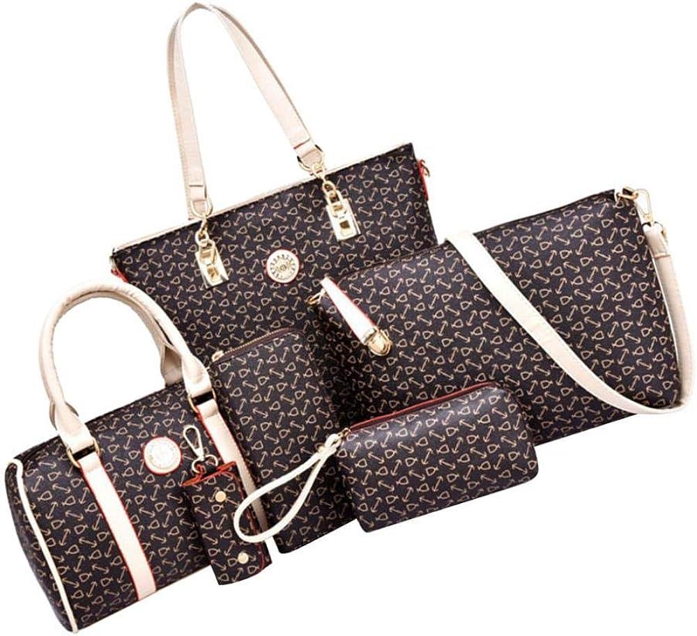 joyMerit Classic 6Pcs PU Leather Handbags Satchels Totes B Crossbody Set Industry No. 1