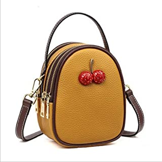 Songlin@yuan Women's Bag New Leather one-Shoulder Women's Soft Leather Diagonal Bag Handbag Cherry Decorative Bag Size:23 * 8.5 * 14cm (Color : Yellow)