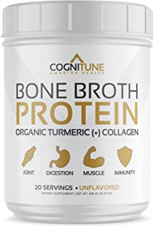 Bone Broth Protein Powder - Organic Turmeric & Collagen Peptides Unflavored - Premium Natural Grass Fed