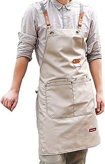 FMSBSC Baumwoll Schürze Für Damen Mann, Chef BBQ Grill Werkstatt Schürzen Mit Verstellbarem Gurt  Schnellverschluss, Professionelle Kochschürze,Apricot