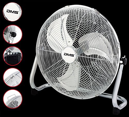 DMS® MTV-50 Windmaschine Boden Ventilator 57cm 200W Chrom Standventilator Tischventilator
